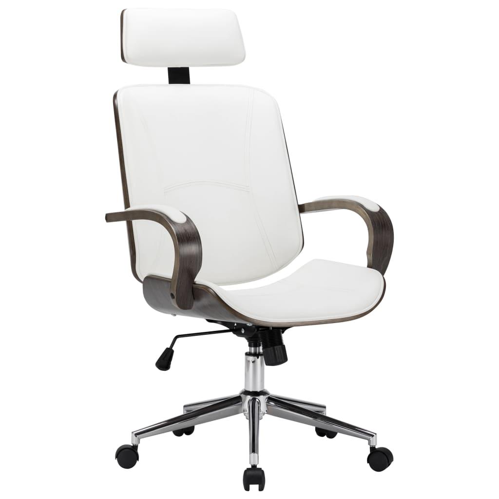 Otočná kancelářská židle s opěrkou hlavy bílá umělá kůže ohýbané dřevo