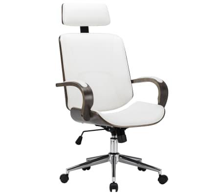 vidaXL Chaise de bureau avec appuie-tête Blanc Similicuir et bois