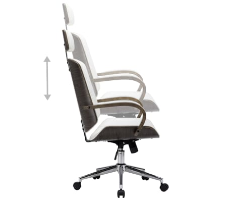 vidaXL Krzesło obrotowe z zagłówkiem, białe, ekoskóra i