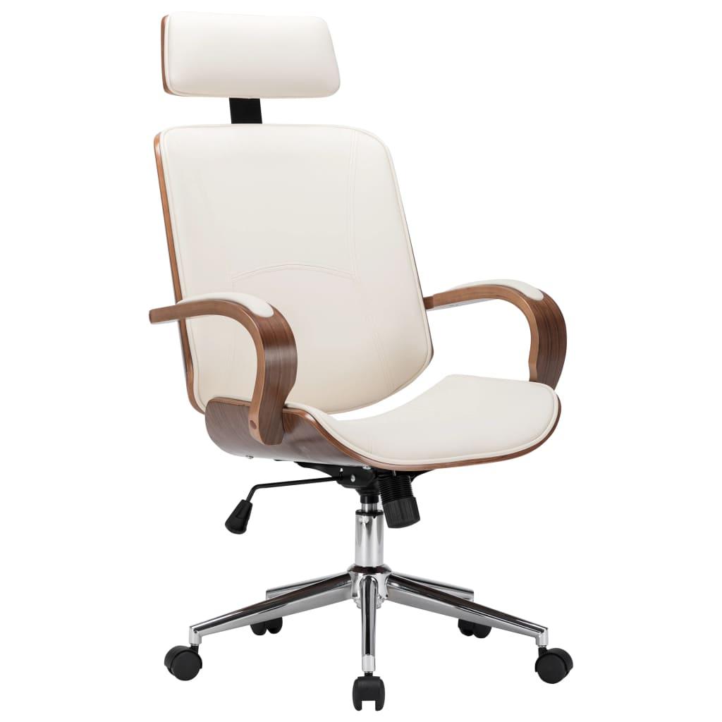Otočná kancelářská židle opěrka hlavy krémová umělá kůže ohýbané dřevo
