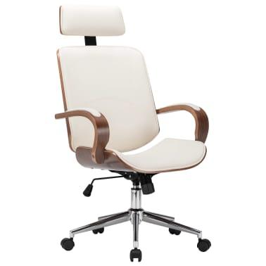 Pasukama biuro kėdė su atlošu galvai, kreminė, dirbtinė oda, mediena[1/7]