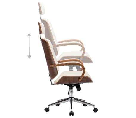 Pasukama biuro kėdė su atlošu galvai, kreminė, dirbtinė oda, mediena[4/7]