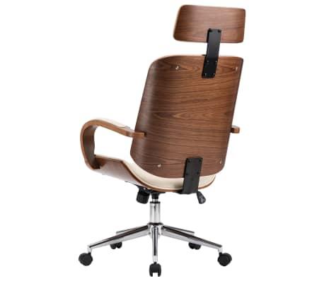 Pasukama biuro kėdė su atlošu galvai, kreminė, dirbtinė oda, mediena[5/7]