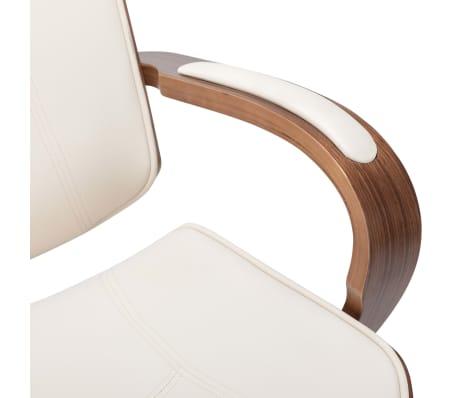 Pasukama biuro kėdė su atlošu galvai, kreminė, dirbtinė oda, mediena[6/7]
