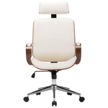 Pasukama biuro kėdė su atlošu galvai, kreminė, dirbtinė oda, mediena[2/7]