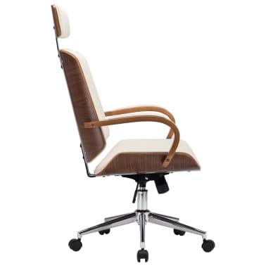 Pasukama biuro kėdė su atlošu galvai, kreminė, dirbtinė oda, mediena[3/7]