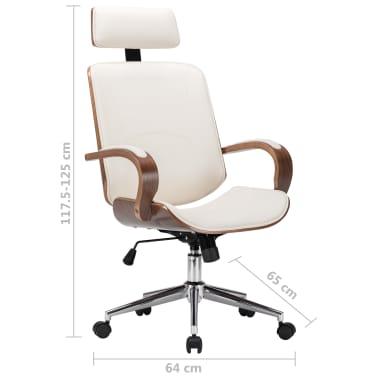 Pasukama biuro kėdė su atlošu galvai, kreminė, dirbtinė oda, mediena[7/7]