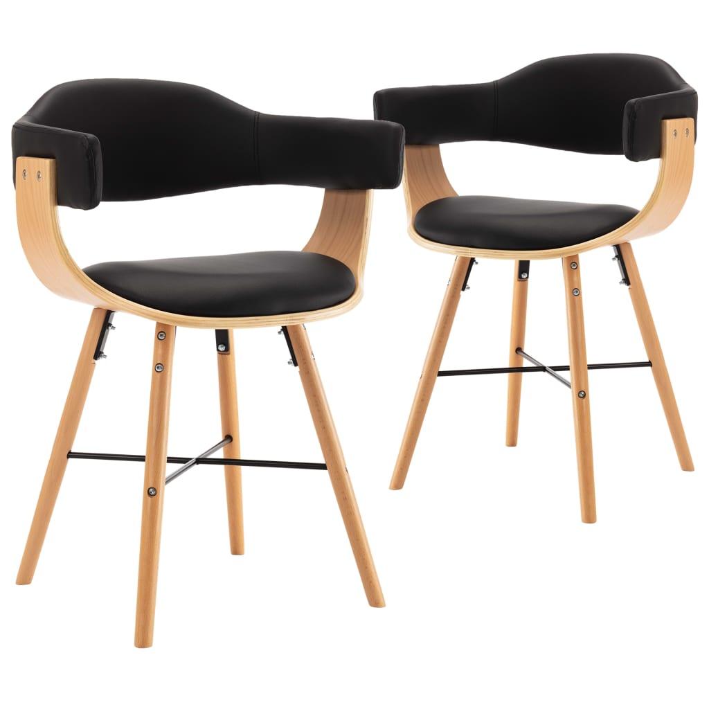 vidaXL Καρέκλες Τραπεζαρίας 2 τεμ. Μαύρες Συνθετικό Δέρμα/Λυγισμ. Ξύλο