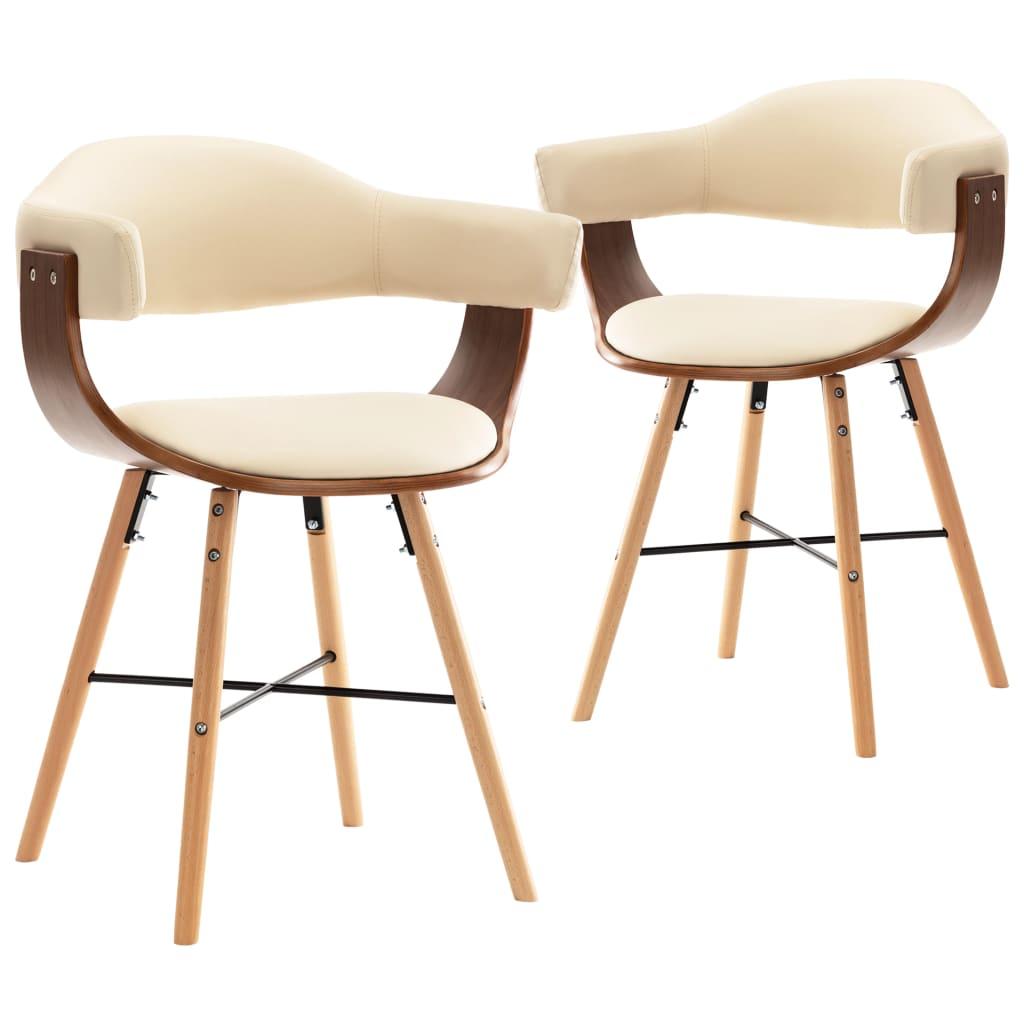 vidaXL Καρέκλες Τραπεζαρίας 2 τεμ. Κρεμ Συνθετικό Δέρμα/Λυγισμένο Ξύλο