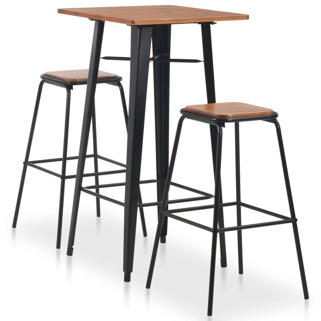 vidaXL Set mobilier de bar, 3 piese, maro-negru, oțel imagine vidaxl.ro