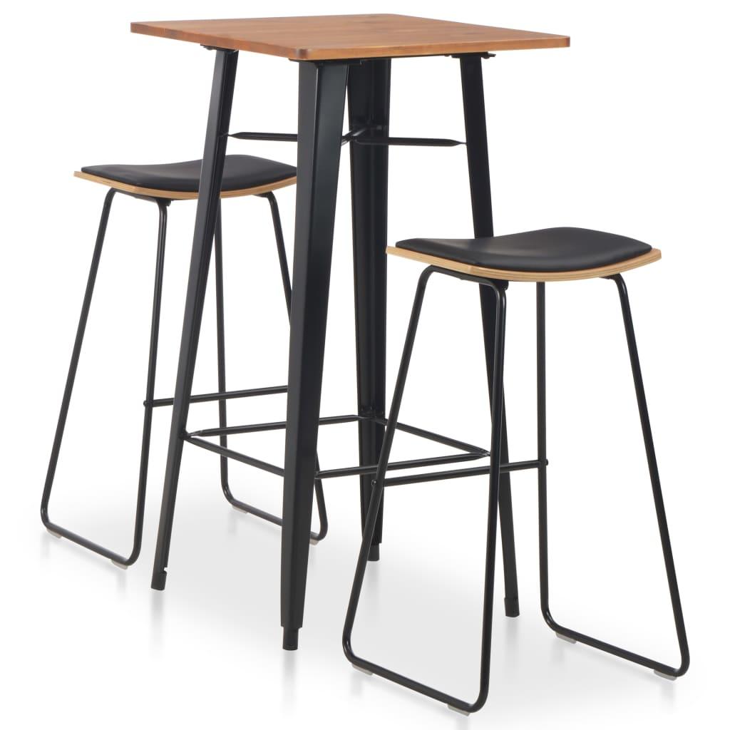 vidaXL Set mobilier de bar, 3 piese, negru, oțel poza 2021 vidaXL