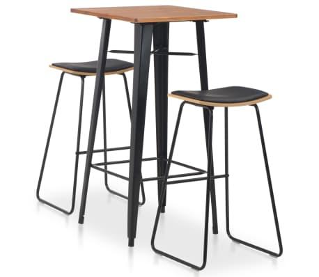 vidaXL 3dílný barový jídelní set ocelový černý