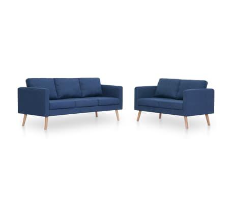 vidaXL Zestaw 2 sof tapicerowanych tkaniną, niebieski