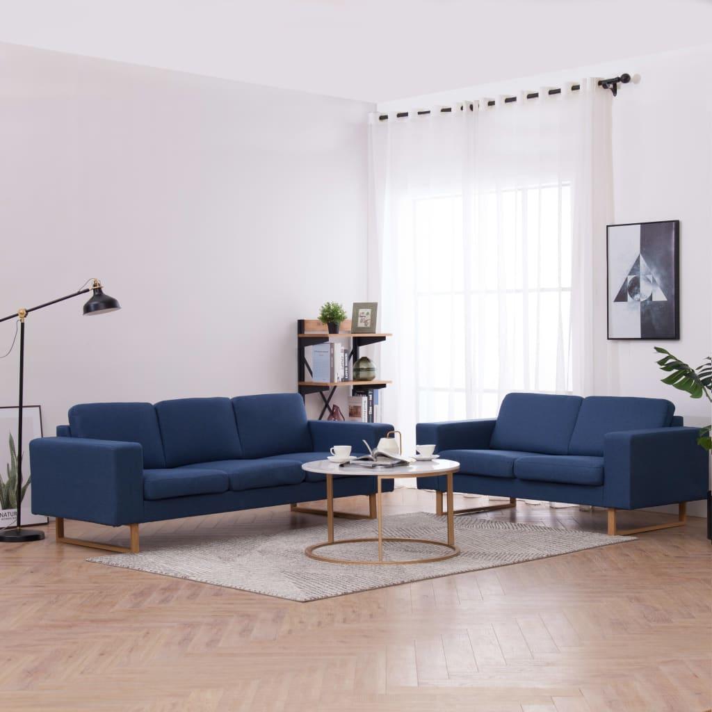 Canapé 3 places Bleu Tissu Confort