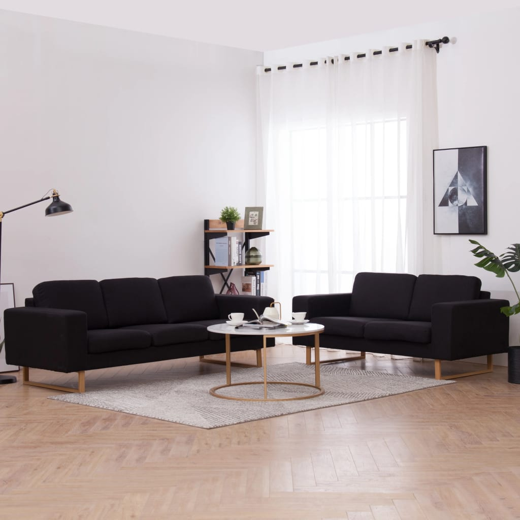 vidaXL Set de canapele, 2 piese, negru, material textil imagine vidaxl.ro