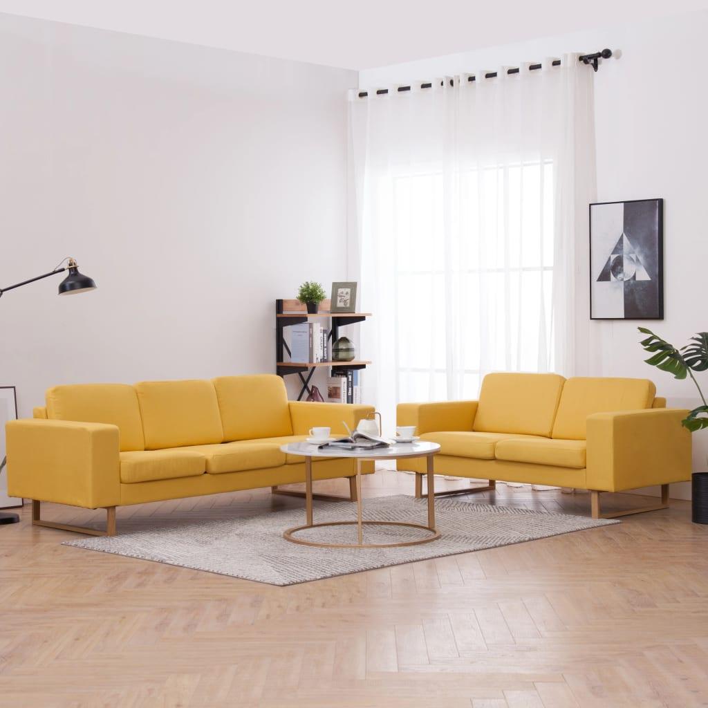 Canapé 3 places Jaune Tissu Confort