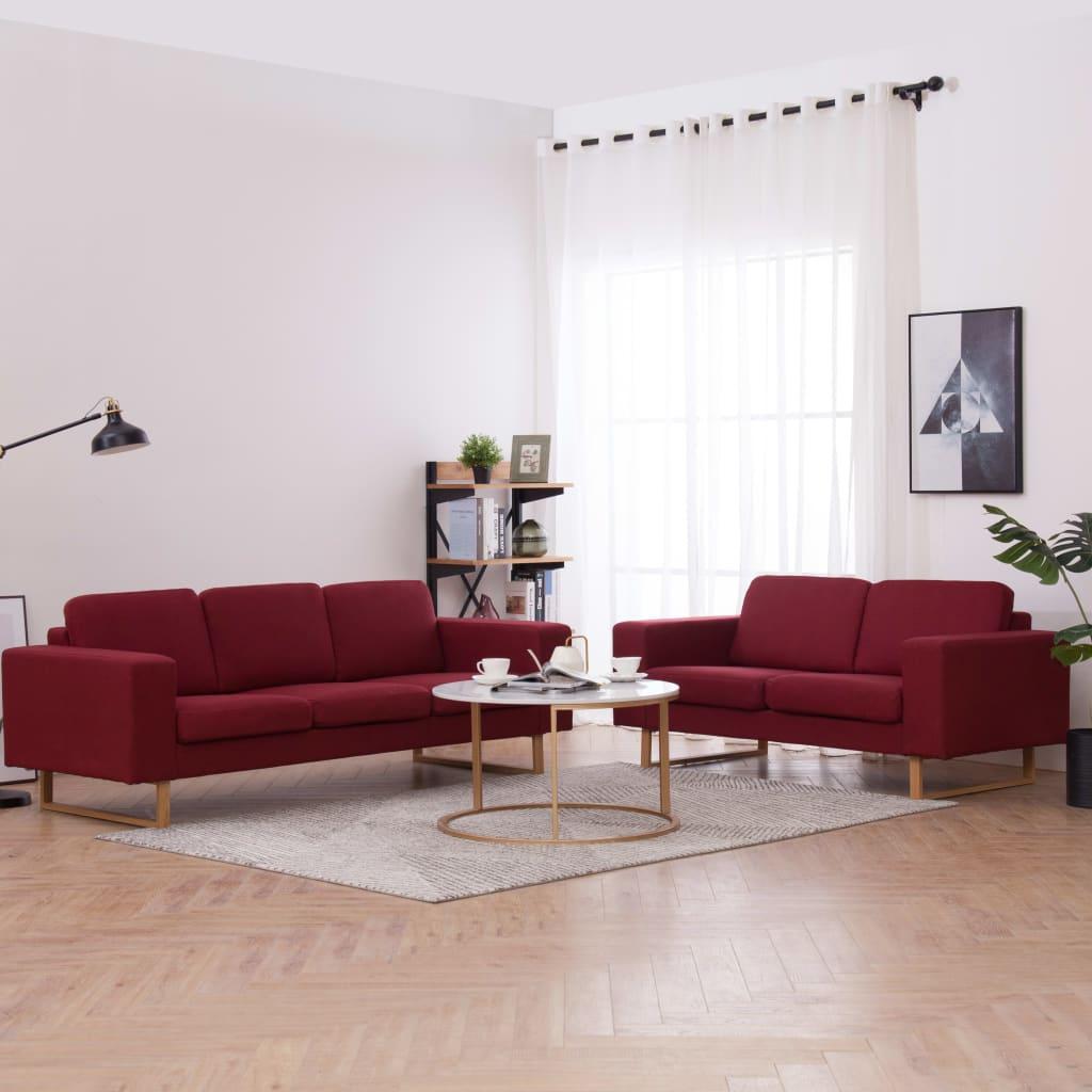 Canapé 3 places Rouge Tissu Confort