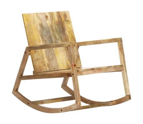 vidaXL Houpací křeslo hnědé pravá kůže a masivní mangovníkové dřevo[2/11]