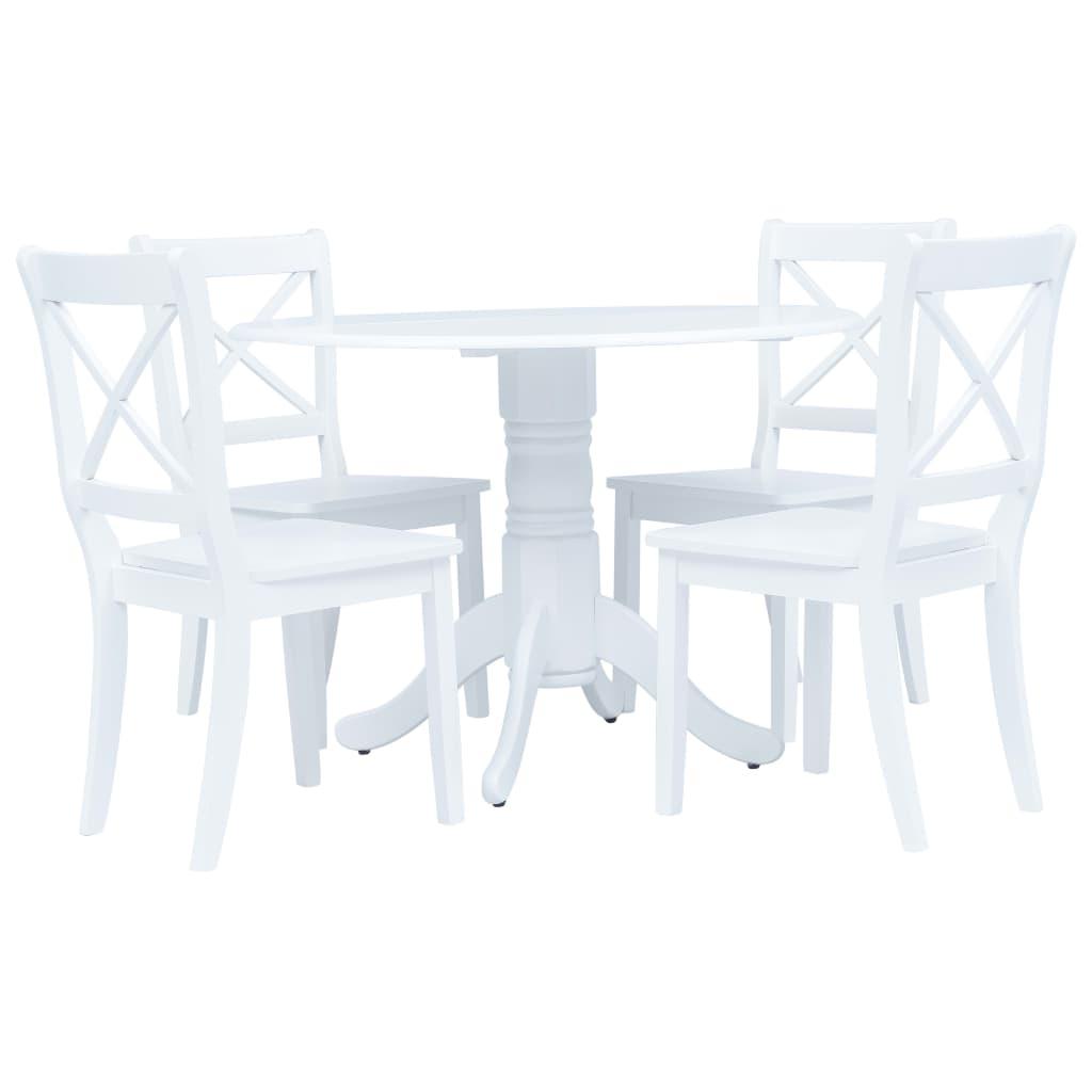 vidaXL Set mobilier bucătărie, 5 piese, alb, lemn masiv de hevea imagine vidaxl.ro
