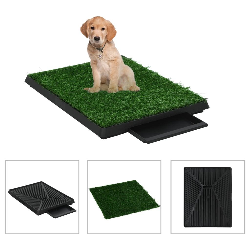 vidaXL Toaleta pro psy s nádobou a umělou trávou zelená 63x50x7 cm WC