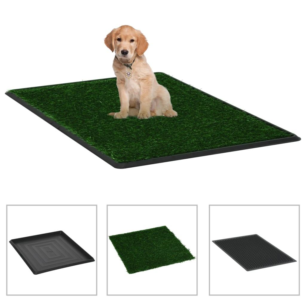 vidaXL Toaleta pro psy s nádobou a umělou trávou zelená 64x51x3 cm WC