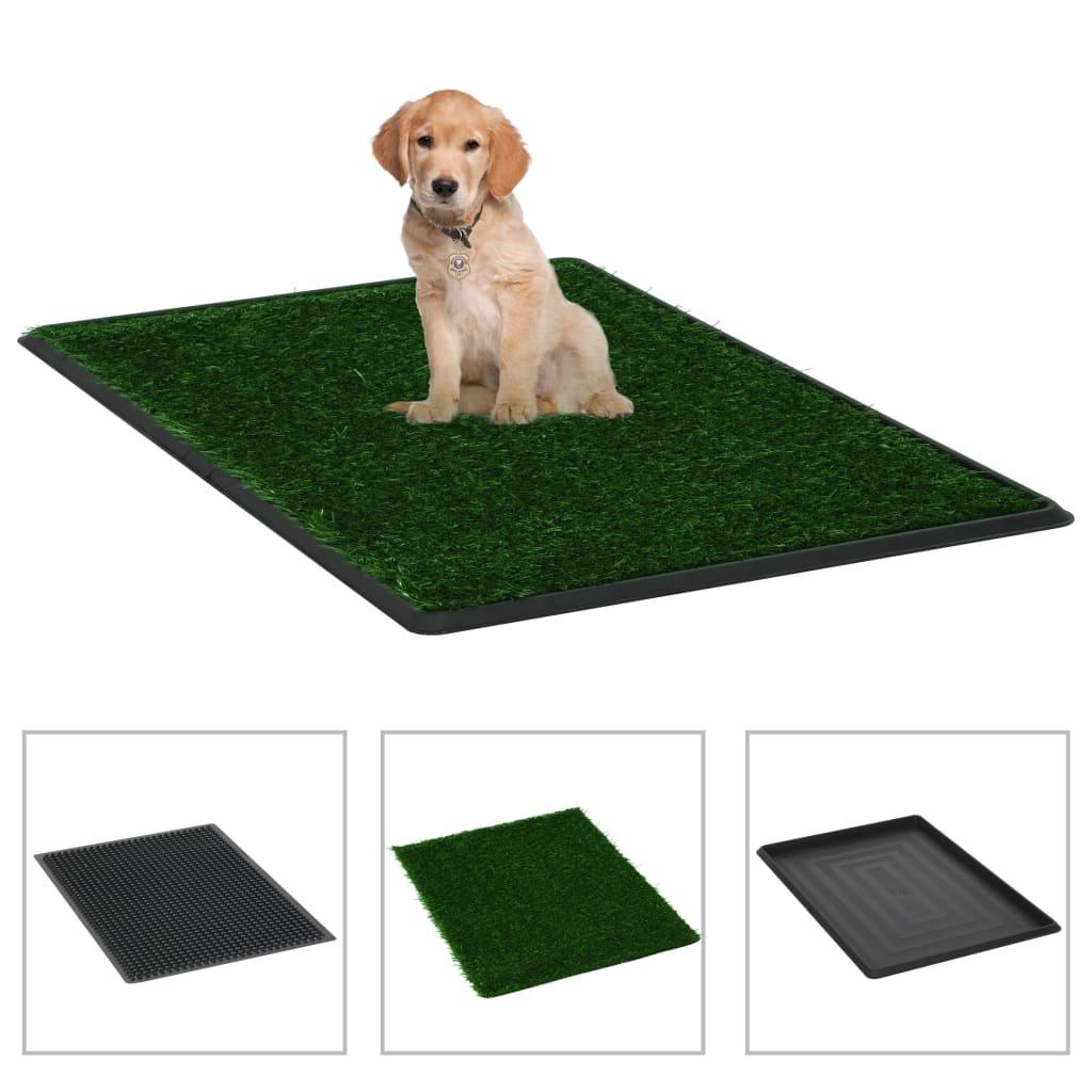 vidaXL Toaleta pro psy s nádobou a umělou trávou zelená 76x51x3 cm WC
