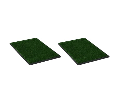vidaXL Pet Toilets 2 pcs with Tray & Faux Turf Green 76x51x3 cm WC