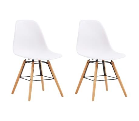 vidaXL Dining Chairs 2 pcs White Plastic