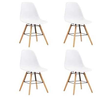 vidaXL Dining Chairs 4 pcs White Plastic