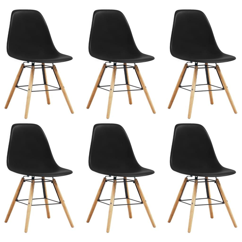 vidaXL Krzesła stołowe, 6 szt., czarne, plastik