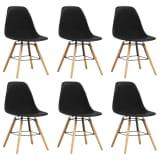 vidaXL Valgomojo kėdės, 6 vnt., juodos spalvos, plastikas