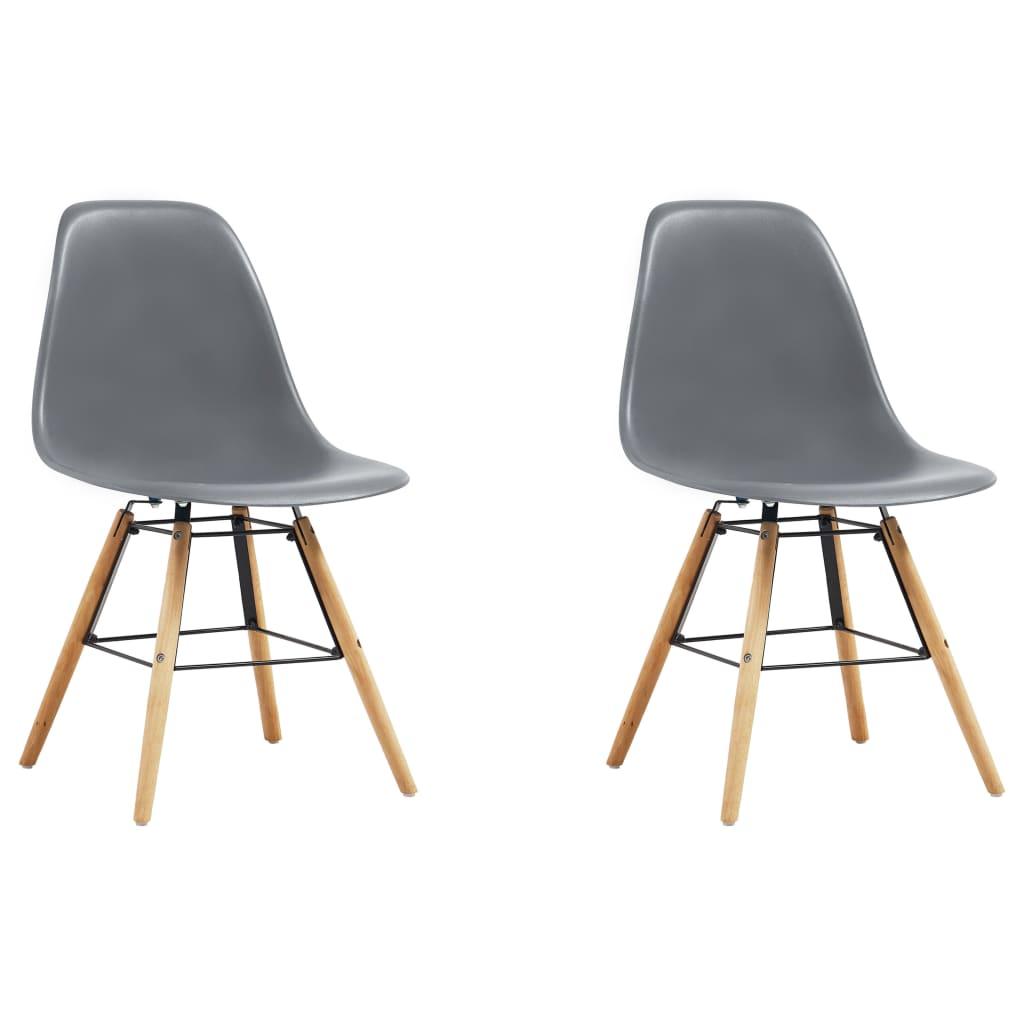 vidaXL Jídelní židle 2 ks šedé plast