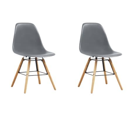 vidaXL Dining Chairs 2 pcs Gray Plastic