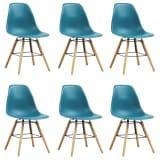 vidaXL Valgomojo kėdės, 6 vnt., turkio spalvos, plastikas