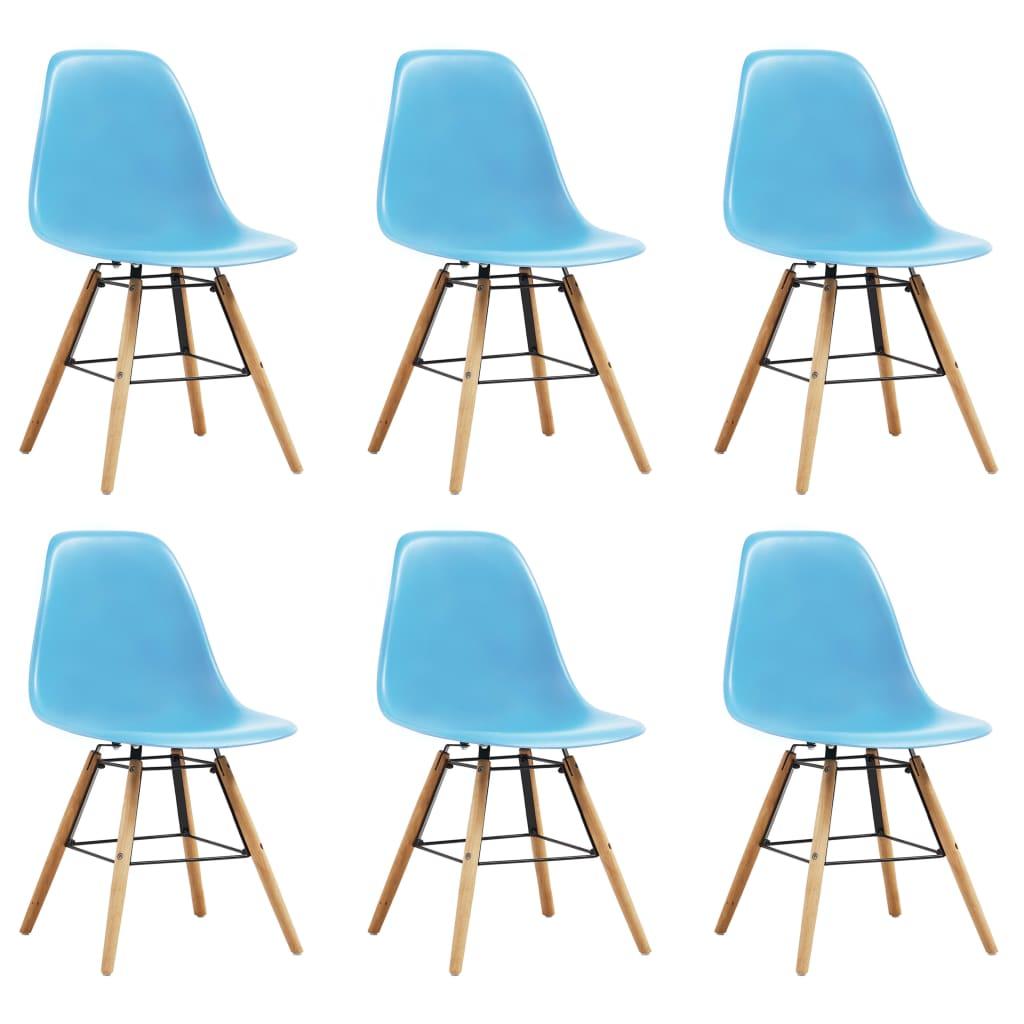 vidaXL spisebordsstole 6 stk. plastik blå