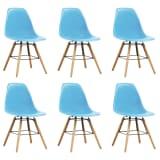 vidaXL Dining Chairs 6 pcs Blue Plastic