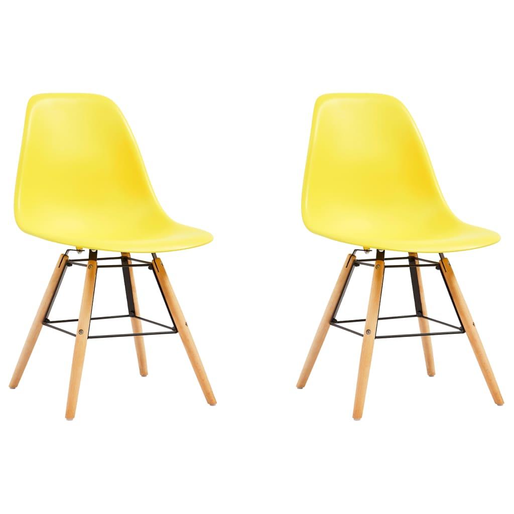 vidaXL Jídelní židle 2 ks žluté plast