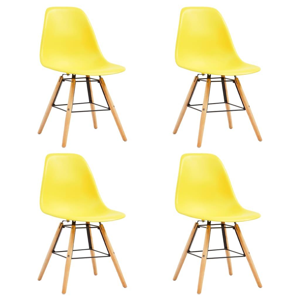 vidaXL Καρέκλες Τραπεζαρίας 4 τεμ. Κίτρινες