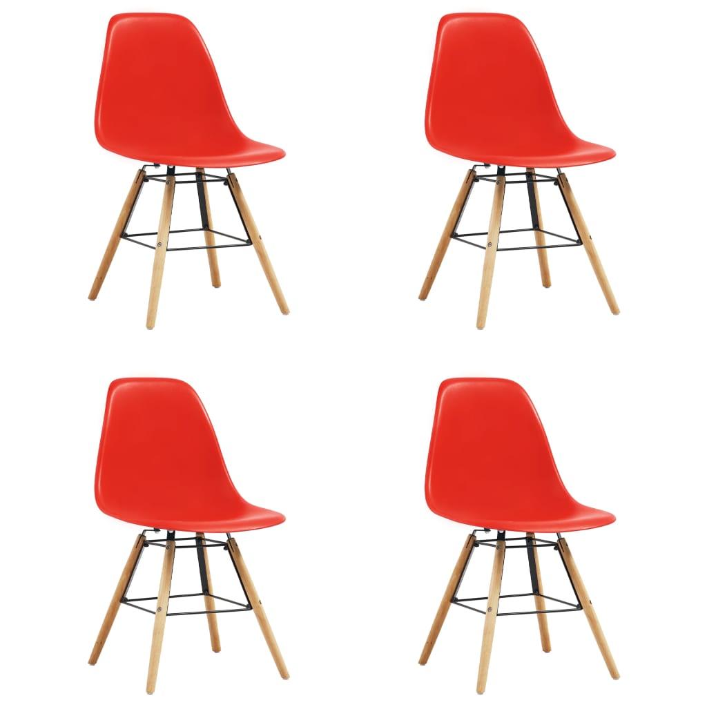 vidaXL Καρέκλες Τραπεζαρίας 4 τεμ. Κόκκινες Πλαστικές