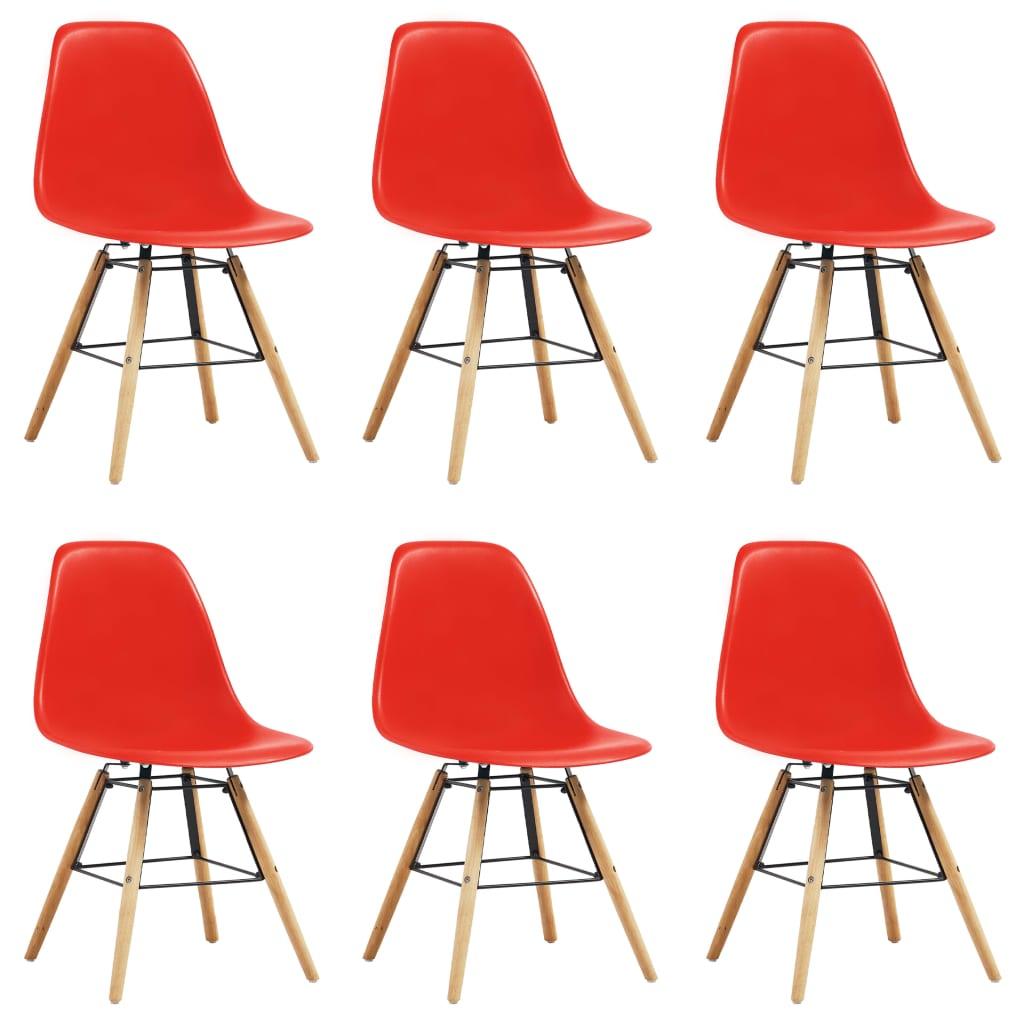 vidaXL Καρέκλες Τραπεζαρίας 6 τεμ. Κόκκινες