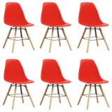 vidaXL Καρέκλες Τραπεζαρίας 6 τεμ. Κόκκινες Πλαστικές