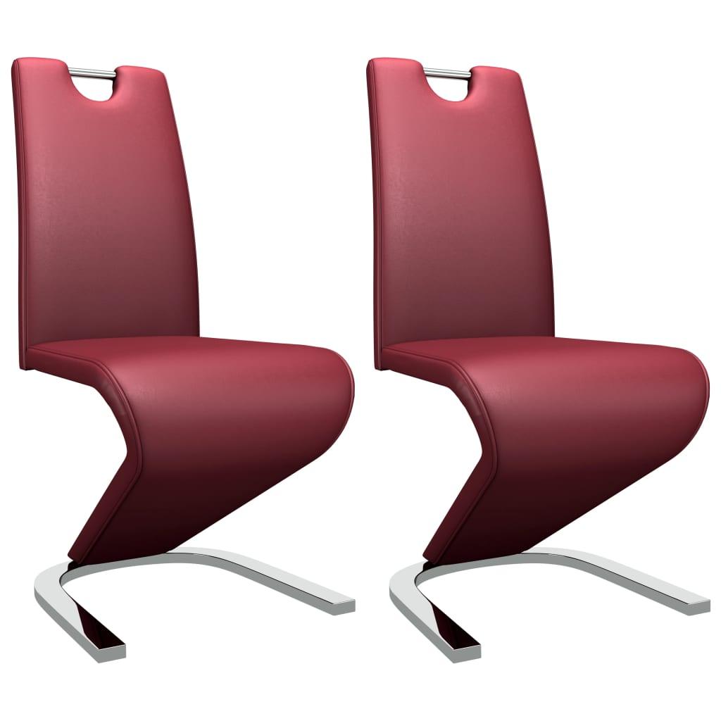 vidaXL Καρέκλες Τραπεζαρίας Ζιγκ-Ζαγκ 2 τεμ. Μπορντό Συνθετικό Δέρμα
