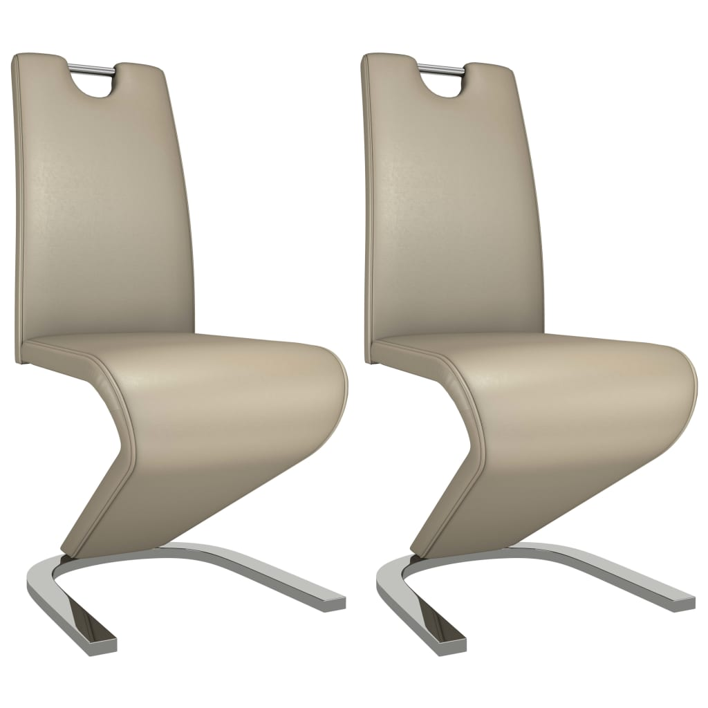 vidaXL Καρέκλες Τραπεζαρίας Ζιγκ-Ζαγκ 2 τεμ Καπουτσίνο Συνθετικό Δέρμα