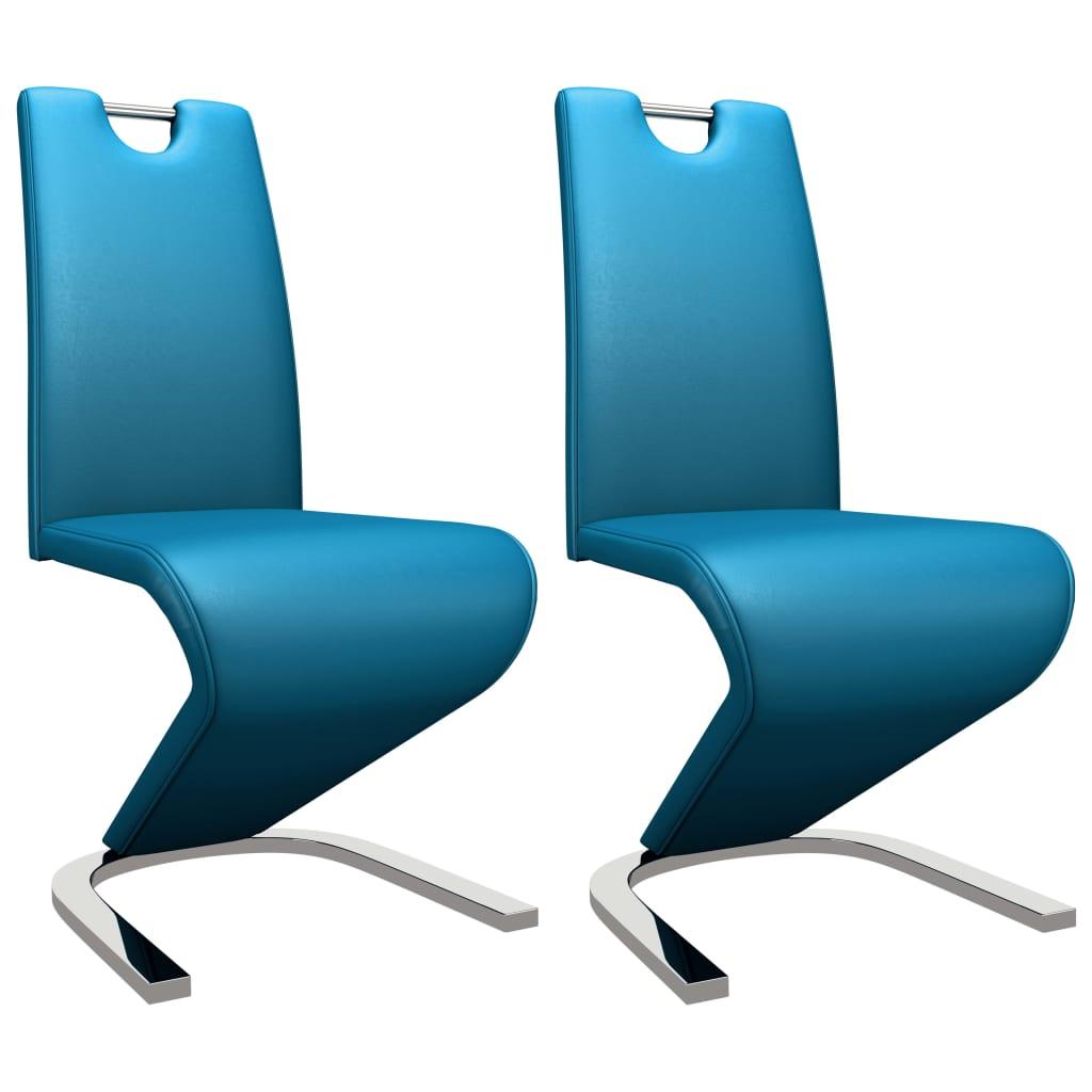 vidaXL Καρέκλες Τραπεζαρίας Ζιγκ-Ζαγκ 2 τεμ. Μπλε από Συνθετικό Δέρμα