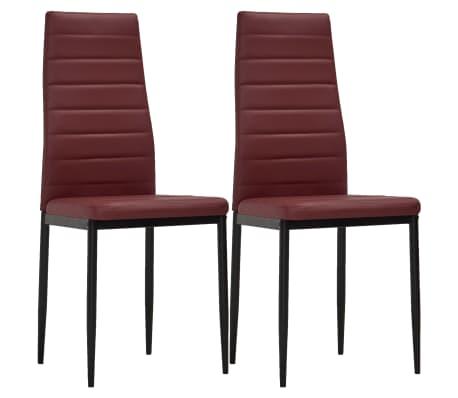 vidaXL Chaises de salle à manger 2 pcs Rouge bordeaux Similicuir