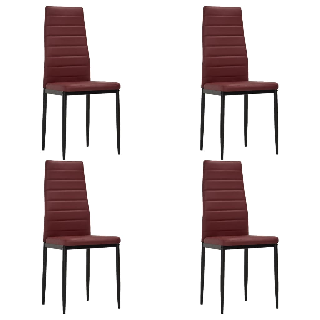 vidaXL spisebordsstole 4 stk. kunstlæder bordeauxrød