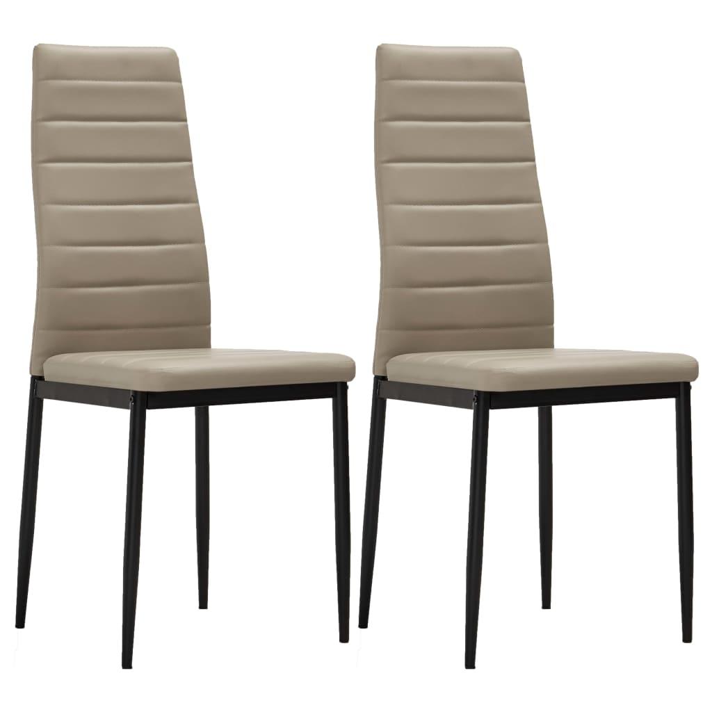 vidaXL Jídelní židle 2 ks cappuccino umělá kůže