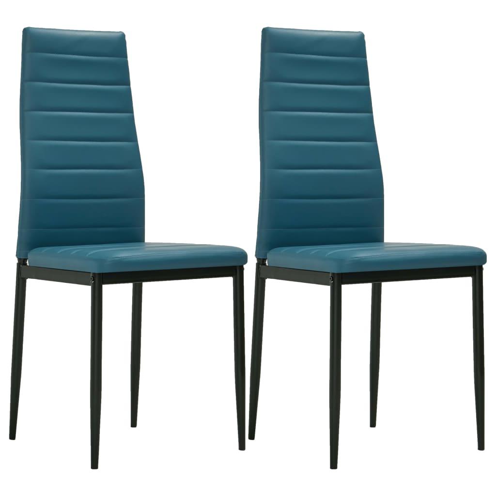 vidaXL Καρέκλες Τραπεζαρίας 2 τεμ. Θαλασσί από Συνθετικό Δέρμα
