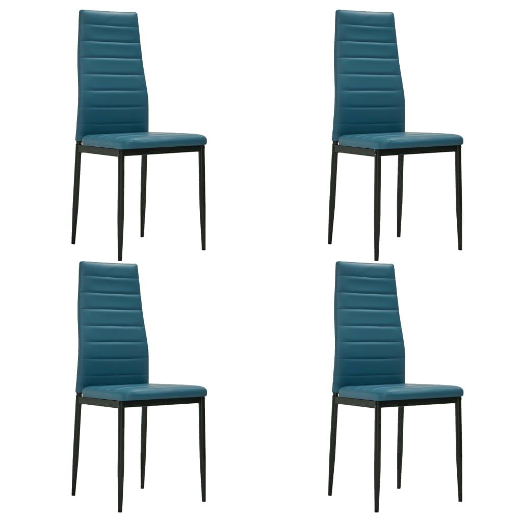 vidaXL Καρέκλες Τραπεζαρίας 4 τεμ. Θαλασσί από Συνθετικό Δέρμα