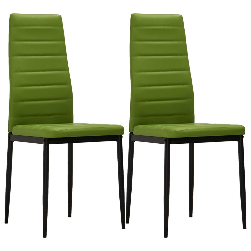 vidaXL Jídelní židle 2 ks limetkově zelené umělá kůže
